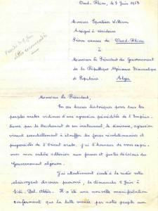 Brouillon manuscrit de la lettre de W. Sportisse à Boumediene, 7 juin 1967.