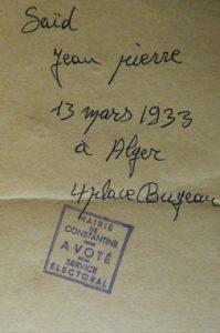 Constantine, 1er juillet 1962. Carte d'électeur de fortune réalisée par un bureau de vote pour le référendum sur l'indépendance.