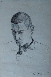 8 mai 1952. Portrait réalisé par un ami à sa sortie de prison.