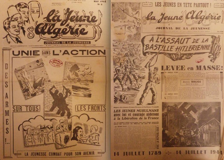"""La Jeune Algérie"", numéros de mai et juillet 1944."