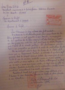 Camp de Lodi, 3 décembre 1956. Lettre de JP Saïd au préfet d'Alger.
