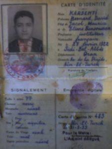 Fausse carte d'identité de Boualem Khalfa, alias Bernard Karsenti, saisie par la BST en 1957.