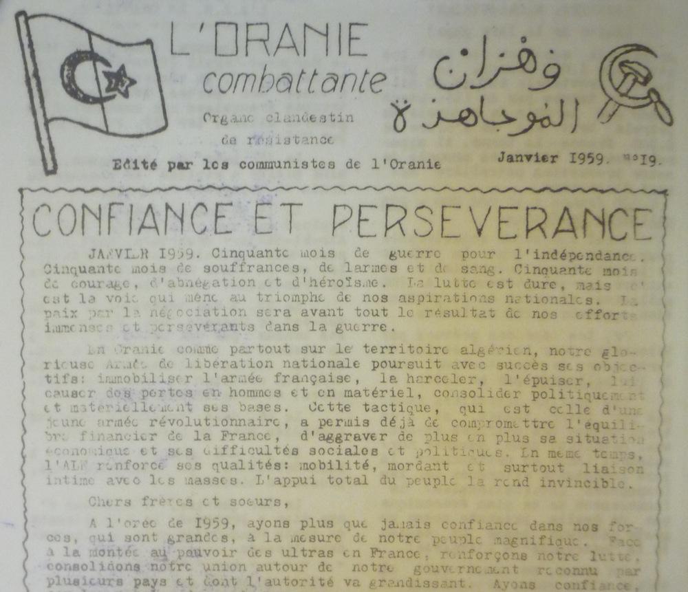 """""""L'Oranie combattante, organe clandestin de résistance édité par les communistes de l'Oranie"""", n° 19, janvier 1959."""