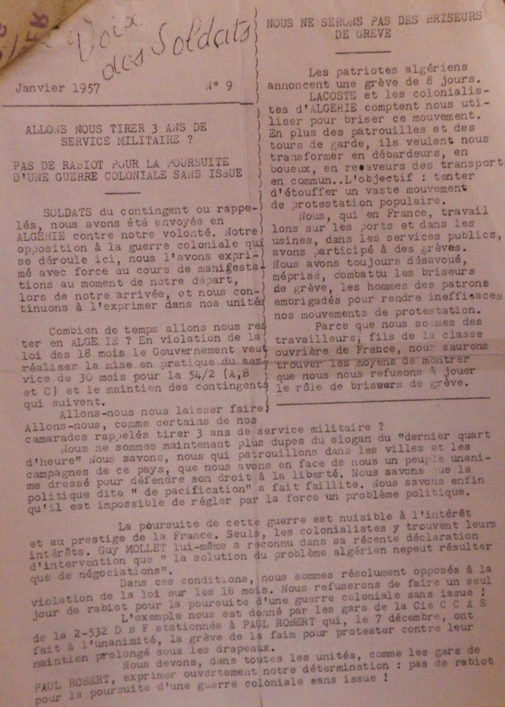 """""""La Voix des soldats"""" n°9, janvier 1957."""
